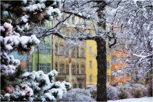 park houses snow austria coloured tyrol innsbruck