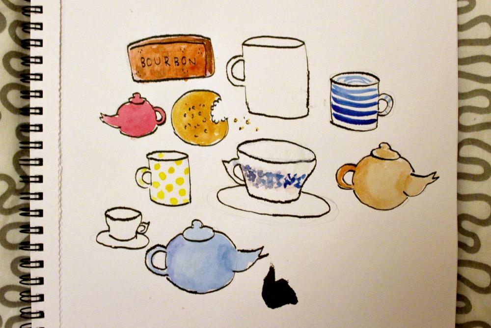 teacups and teapots illustration