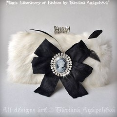 #bag #clutch #purse #case #wedding #marriage #bride #fur #cameo #romance #love #designer #fashion #blogger #swarovski #crystal #empire #bow    #blackwhite #colorblock #etsy #beautiful #tianache #gift #luxury #jewel #handmade #christmas #posh #chic
