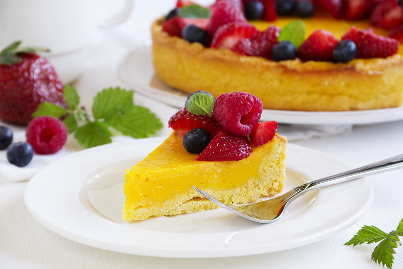 Lemon cake with summer berries.