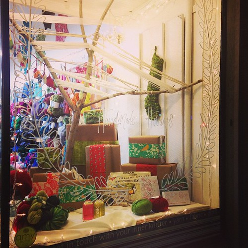 The tangle holiday windows are coming along...almost there. #handpainted #handmadeholidays