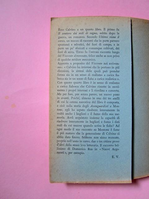 L'entrata in guerra, di Italo Calvino. Einaudi 1954. [Progetto grafico di Albe Steiner]. Risvolto di copertina, verso di cop. (part.), 1