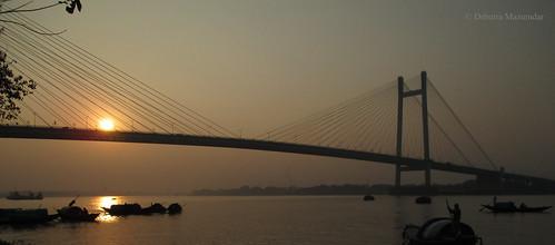 kolkata calcutta prinsepghat westbengal bengal hooghly ganga ganges vidyasagarsetu evening sunset riverbank canon ixus 145