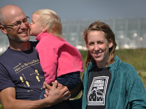 Andy and Melissa Dunham, seen here with daughter Leonora, own and operate Grinnell Heritage Farm in Grinnell, Iowa. NRCS photo by Ron Nichols.