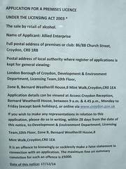 Licensing notice at ex-Croydon Emporium, Croydon, London CR0