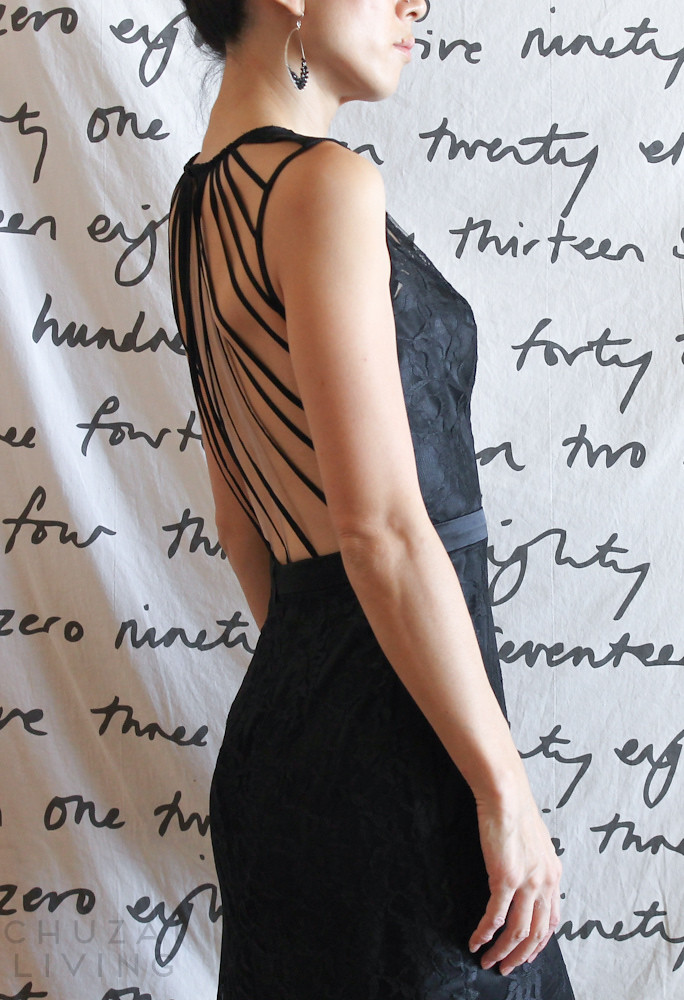 Black lace gown with string back-15