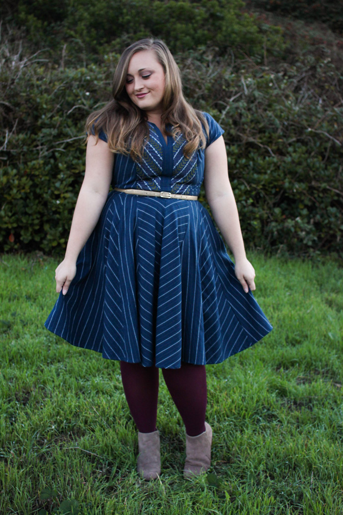 eshakti, retro, vintage, dress, sponsored, navy blue, circle skirt