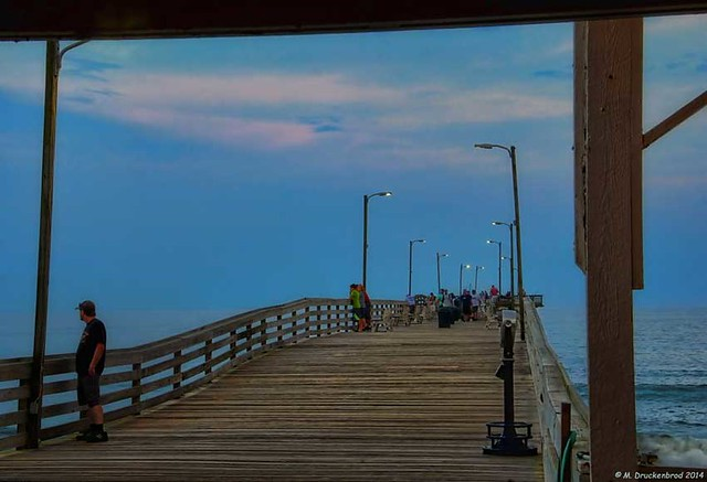 The virginia beach fishing pier at night flickr photo for Va beach fishing pier