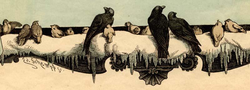 Vögel auf der Stange, Münchner Bilderbogen 1878, Detail via Goethezeitportal
