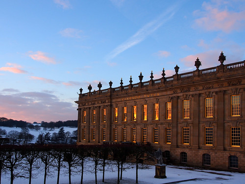 winter sunset house snow cold reflection gold derbyshire olympus mansion chatsworth stately