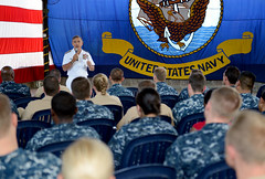 Adm. Harry Harris addresses Sailors and Department of Defense personnel assigned to Logisitics Group Western Pacific, Navy Region Singapore and various tenant commands during an all hands call. (U.S. Navy/MC1 Jay C. Pugh)