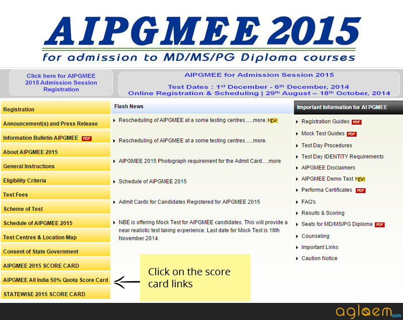 AIPGMEE Result 2015 and Scorecard - NBE Results