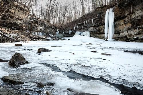 statepark winter snow ice creek forest frozen woods indiana canyon falls mccormickscreek