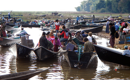The Boats Arriving at Shangrila at the End of Inle Lake (Myanmar)