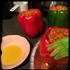 #CucinaDelloZio - #homemade #StuffedPeppers - #peperoni #imbottiti - brush outside w/ #OliveOil