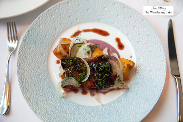Whey braised pork belly, blueberry preserves, shaved fennel, fried pillow of potato
