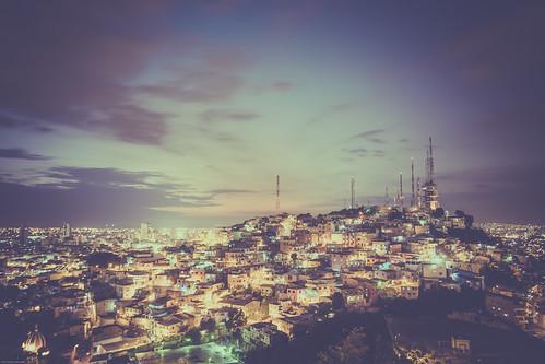 historicalvillage night ecuador elcarmenhill bluehour travel eos6d barriolaspeñas hdr canon sunset southamerica tvstation guayaquil streetlights guayas ec