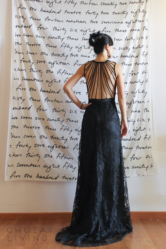 Black lace gown with string back 3