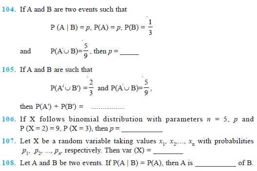 Class 12 Important Questions for Maths - Probability