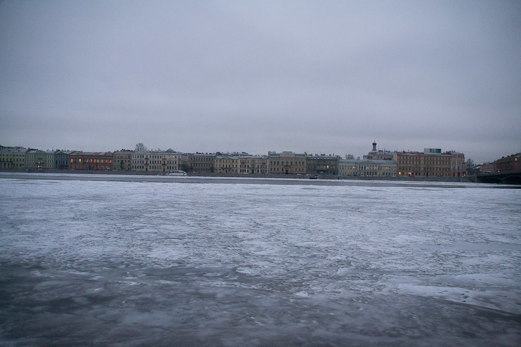 Frozen Neva River in St. Petersburg