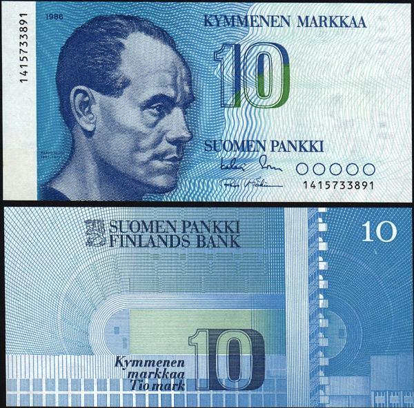 10 Markkaa Fínsko 1986, Pick 113