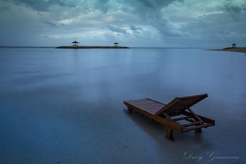 beach sunrise indonesia serenity sanur baliisland lazychair cloudymorning