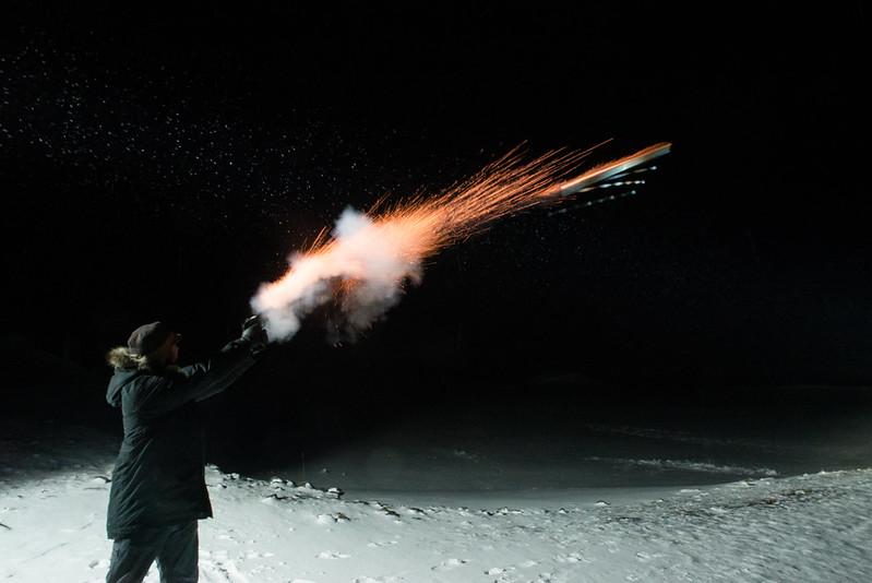 Me firing a flare gun