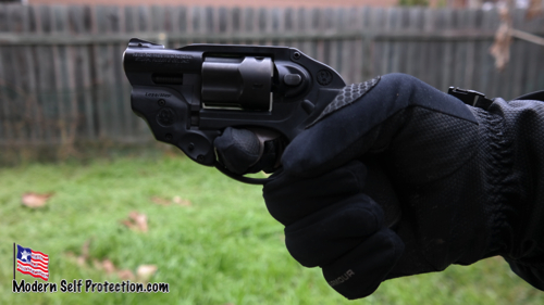 LCR Revolver being fired with gloved hand