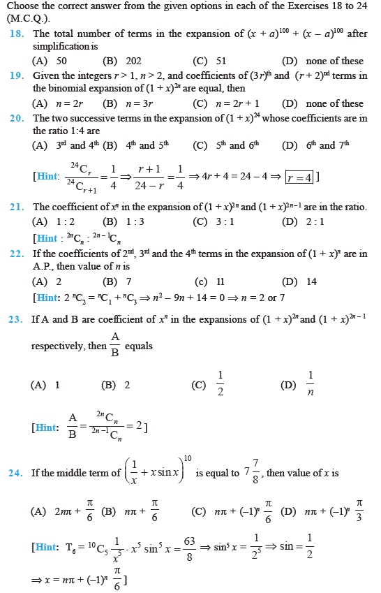 Class 11 Important Questions for Maths – Binomial Theorem