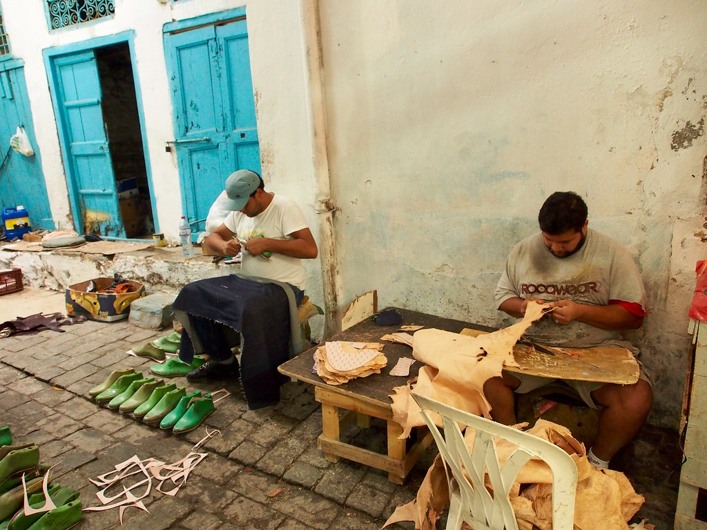 Oriental slippers makers, Tunis (Tunisia)