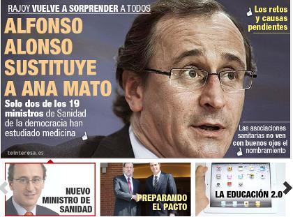 Alfonso Alonso será el nuevo ministro de Sanidad en sustitución de Ana Mato