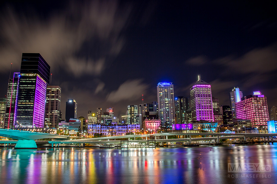 Beautiful Brisbane City all lit up in colour.