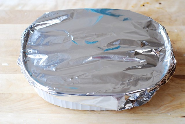 Cover the casserole dish with aluminum foil