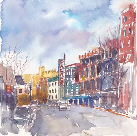 Looking down Atlantic Street, Stamford, CT