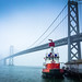 San Francisco Oakland Bay Bridge and Fireboat #2 by phomchick