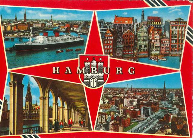 Carte postale de Hambourg en forme de boussole ou d'étoiles de ninja.