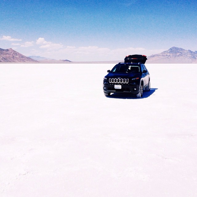 the Bonneville Salt Flats in July...