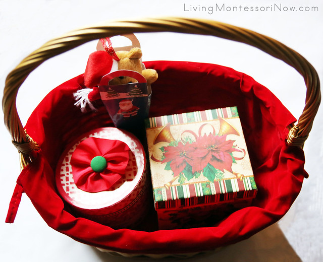Christmas Gift Box and Bag Treasure Basket