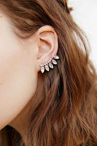 delicate rhinestone ear climber earring urban outfitters