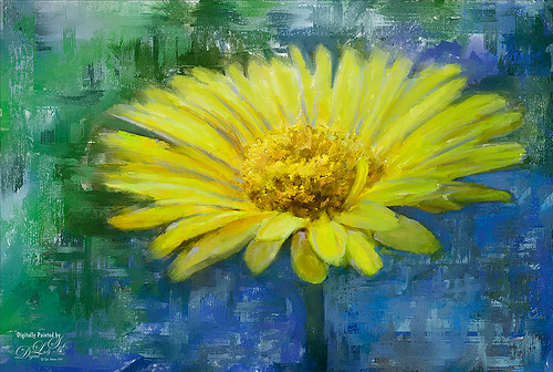 Painted image of a yellow gerbera daisy