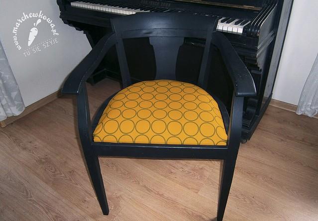 Vintage, antique, chair, krzesło, obijanie, siedzisko, płótno a la len, Cottonbee.pl