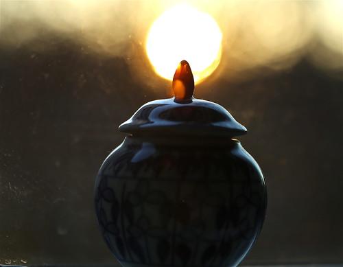 sunset texture window closeup bokeh maine chinapot