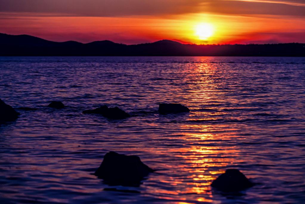 Autumn sunset on film