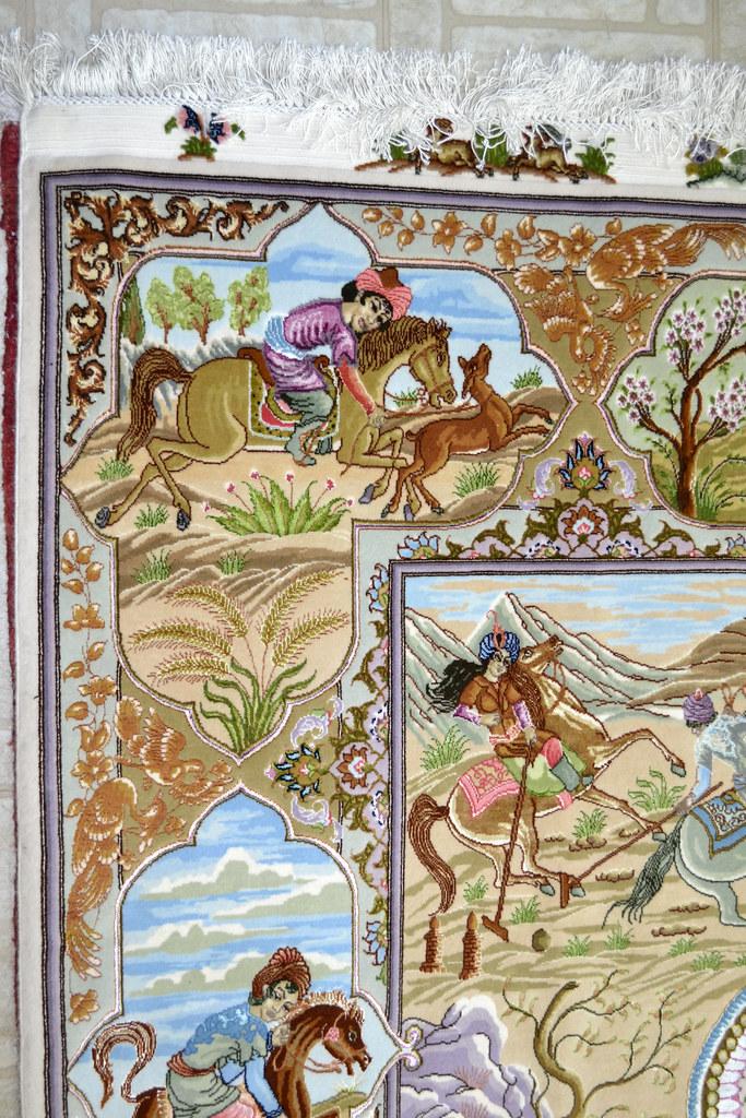 Tabriz 70 Raj - hunting scene Fine 7x10 (14)