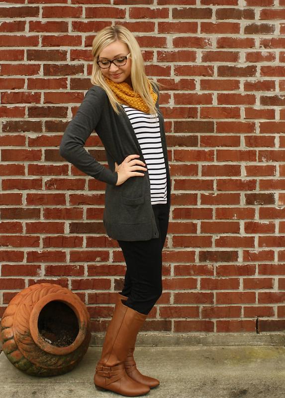boyfriend cardigan + striped shirt