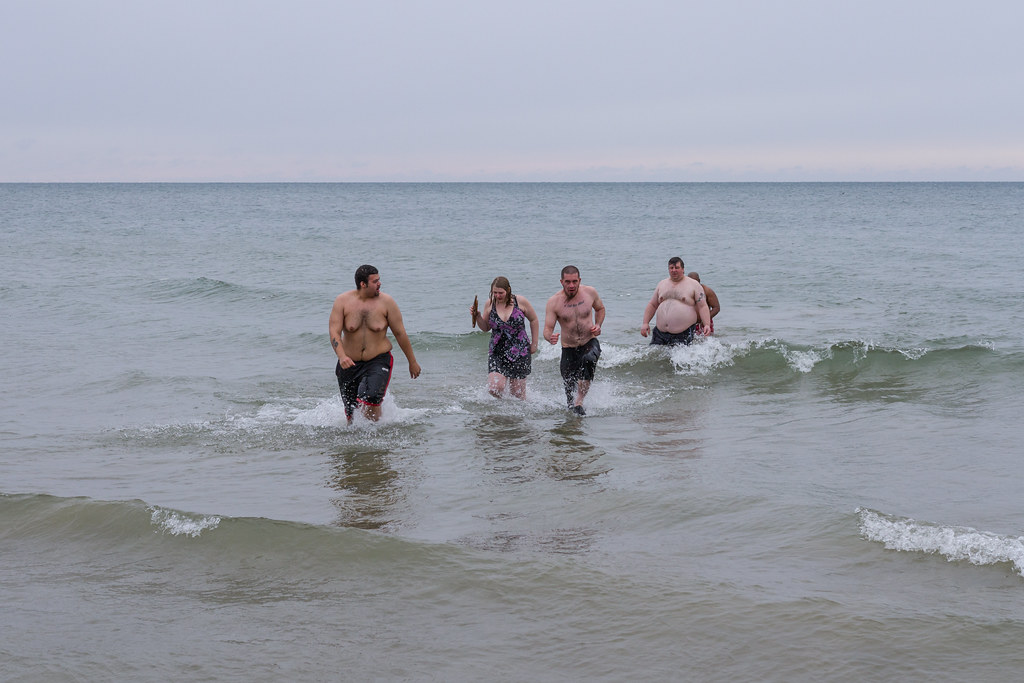One decides to run to shore after polar plunging.