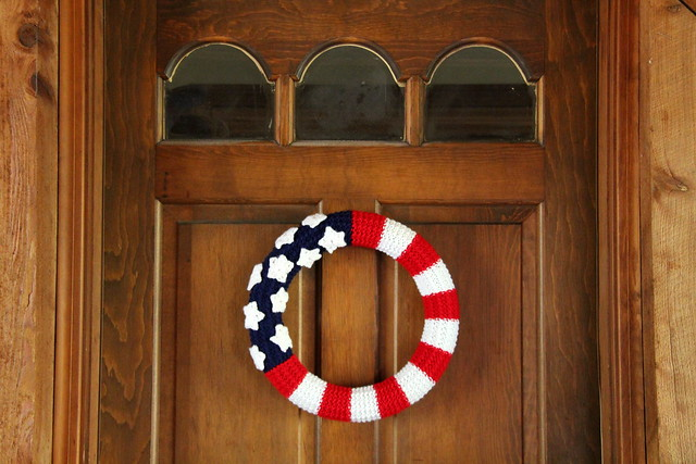 American Flag Wreath on Door