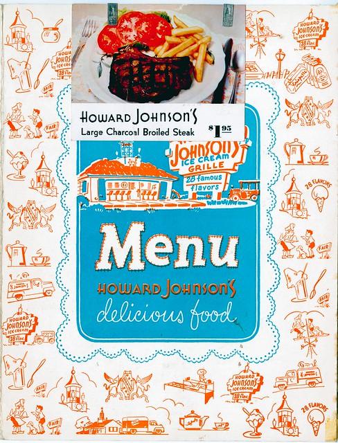 Howard Johnson's menu cover New Jersey Turnpike NJ