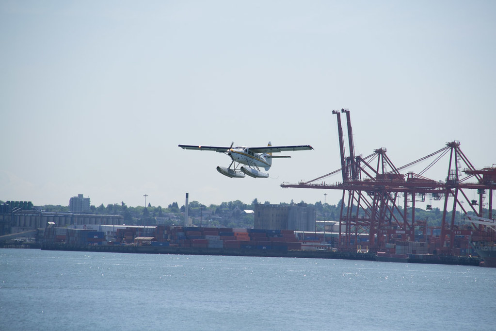Seaplane taking off near Stanley Park in Vancouver
