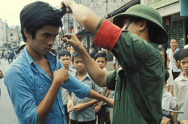 The Fall of Saigon, Vietnam in April, 1975 - The Vietcong cutting hair and